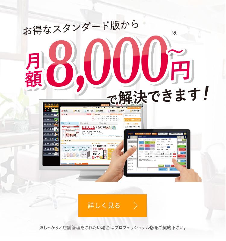 お得なスタンダード版から月額8,000円〜で解決できます!